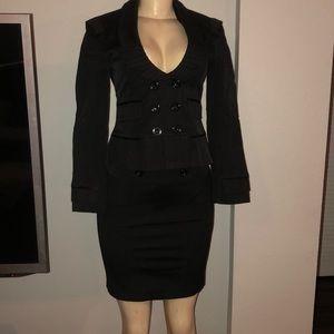 Woman's black blazer & skirt suit. Runway New York